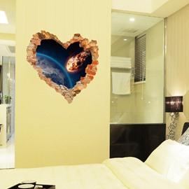 Modern Fashion Design Planet Pattern Heart Shaped Wall Stickers