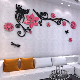 Elegant Flowers and Black Branches Pattern Acrylic 3D Wall Stickers