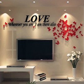 Romantic Houseful Acrylic Love and Butterflies Pattern Three-Dimensional Wall Stickers