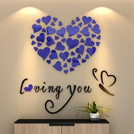 Romantic Heart and Butterfly Loving You Acrylic Mirror 3D Wall Sticker