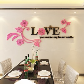 Romantic Warm Love Letters with Flower Decoration Acrylic Decorative 3D Wall Stickers