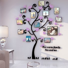 Tree Photo Frames with Purple Heart Shapes Acrylic 3D Wall Stickers