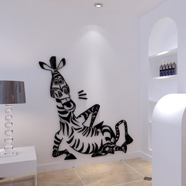 Black Sitting Zebra Acrylic 3D Waterproof Wall Stickers