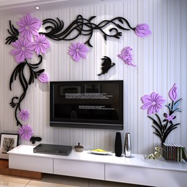Purple and Black Acrylic Flower and Butterfly 3D TV/Sofa Background Wall Stickers