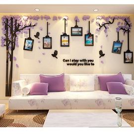 Acrylic Tree and Birds Photo Frame 3D TV/Sofa Background Wall Stickers