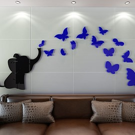 Cut Acrylic Elephant and Butterfly Pattern Decorative 3D Wall Stickers