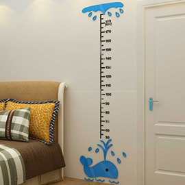 Amusing Cute Whale Decoration Kids Height Measurement Design 3D Wall Stickers