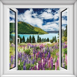 Fancy Natural Lavenders by the River Window Scenery 3D Wall Stickers