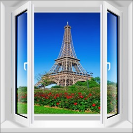 Wonderful Eiffel Tower Window View Home Decorative 3D Wall Sticker