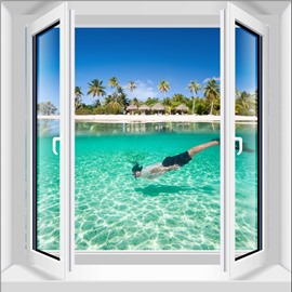 Leisurely Boy Swimming in the Limpid Sea Window View Pattern 3D Wall Stickers