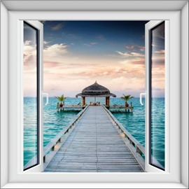 Decorative Natural Bridge by the Sea Window View 3D Wall Stickers