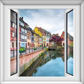 Attractive Quiet Small Town Pattern Window Design 3D Wall Stickers