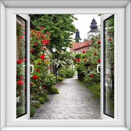 Red Flower and Green Trees on Both Sides of Lane 3D Wall Stickers