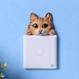 Realistic Cute Resin Cat Shape Design 3D Wall Switch Sticker