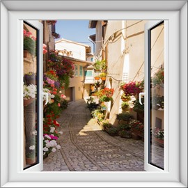 Vivid House and Flower Window Scenery Design Decorative 3D Wall Stickers