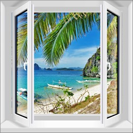 Blue Sea and Sky Surrounded by Mountains and Trees 3D Window Wall Stickers