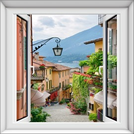 European Small Town Scenery Pattern Design Decorative 3D Wall Stickers
