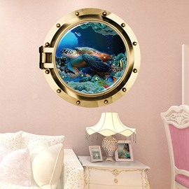 Creative Design Turtle in the Sea Pattern Decorative 3D Wall Stickers