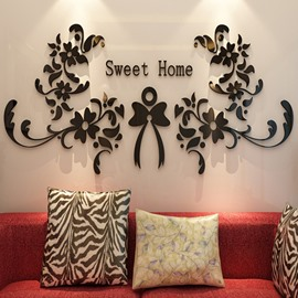 41 Modern Design Sweet Home Flowers Pattern Three Dimensional 3D Wall  Stickers