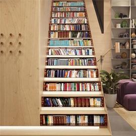 Bookcase 13-Piece Wisdom Sea PVC 3D Waterproof Stair Murals