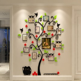 Tree Red Flowers and Birds Acrylic 10 Photo Frames Waterproof 3D Wall Stickers