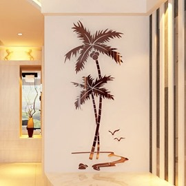 Coffee Coconut Palm Acrylic Mirror Waterproof and Eco-friendly 3D Wall Stickers