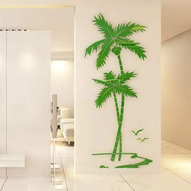 Green Coconut Palm Acrylic Mirror Waterproof and Eco-friendly 3D Wall Stickers