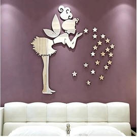 Silver Angel and Five-pointed Stars Acrylic Mirror Waterproof and Eco-friendly 3D Wall Stickers