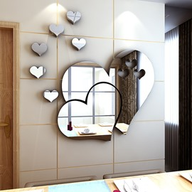 Silver Heart-shaped Acrylic Mirror Waterproof and Eco-friendly 3D Wall Stickers