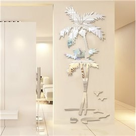 Silver Coconut Palm Acrylic Mirror Waterproof and Eco-friendly 3D Wall Stickers