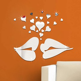 Silver/Golden Lips and Heart Shapes Acrylic Mirror Waterproof 3D Wall Stickers