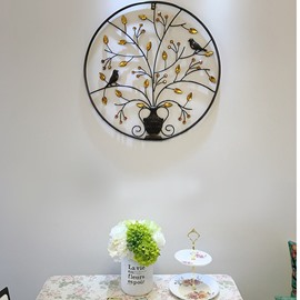24in Birds on Branches Round Iron and Crystal 1 Piece Hanging Wall Decor