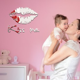 12×11in Silver/Golden Lips Kiss Me Mirror Waterproof and Eco-friendly 3D Wall Stickers
