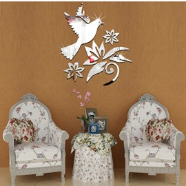 14×16in Bird and Flowers Mirror Waterproof and Eco-friendly 3D Wall Stickers
