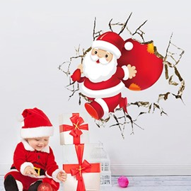 Christmas Father Pattern PVC Waterproof Durable and Eco-friendly 3D Wall Stickers