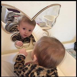 Butterflies Moon Batman Snow Mountain Shape Wood for Baby&Adult Cute Mirror