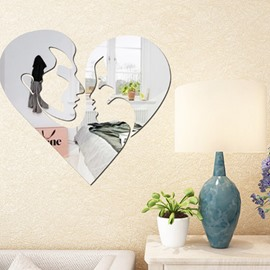 17×16in Lover Heads Pattern Mirror Waterproof and Eco-friendly 3D Wall Stickers