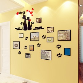 3D Kitten and Photo Frames Acrylic Waterproof and Eco-friendly Self-adhesive Wall Stickers