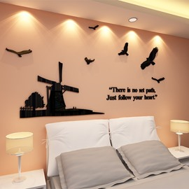 3D Black Windmill and Doves Pattern Acrylic Waterproof and Eco-friendly Self-adhesive Wall Stickers