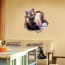 3D Halloween Kitten PVC Water-resistant Eco-friendly Removable Self-adhesive Wall Stickers