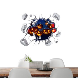 3D Halloween Jack-o-lanterns in Explosive Wall Water-resistant Eco-friendly Removable Self-adhesive Wall Stickers
