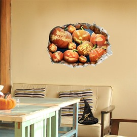3D Halloween Jack-o-lanterns PVC Water-resistant Eco-friendly Removable Self-adhesive Wall Stickers