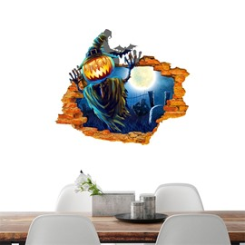 3D Halloween Jack-o-lantern Ghost PVC Water-resistant Eco-friendly Removable Self-adhesive Wall Stickers