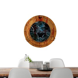 3D Halloween Round Circle with Ghosts PVC Water-resistant Eco-friendly Removable Self-adhesive Wall Stickers