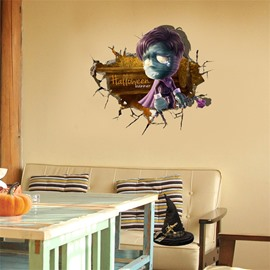 3D Halloween Ghost Boy PVC Water-resistant Eco-friendly Removable Self-adhesive Wall Stickers