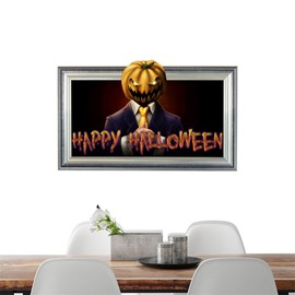 3D Halloween Pumpkin Man PVC Water-resistant Eco-friendly Removable Self-adhesive Wall Stickers