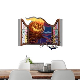 3D Halloween Pumpkin Fire Ghost Hand PVC Water-resistant Eco-friendly Removable Self-adhesive Wall Stickers