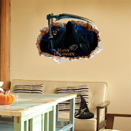 3D Halloween Ghost with Reaphook PVC Water-resistant Eco-friendly Removable Self-adhesive Wall Stickers