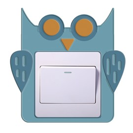 3D Owl Head Printed PVC Waterproof Eco-friendly Self-Adhesive Switch Wall Stickers