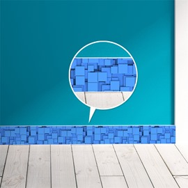 3D Blue Plaids Printed PVC Waterproof Eco-friendly Self-Adhesive Wall Stickers